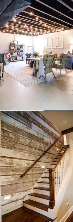 Best DIY Renovation Ideas for unfinished Basement Basement Decorating, Basement Makeover, Basement Renovations, Cheap Diy Home Decor, Diy Home Crafts, Decor Crafts, Diy Decoration, Decor Ideas, Rustic Stairs