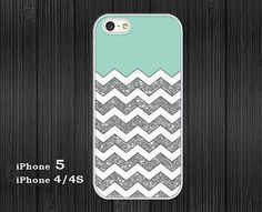 iphone 5 Case - iphone 4 / 4S Case Cover - hard plastic or silicone rubber - white chevron grunge mint