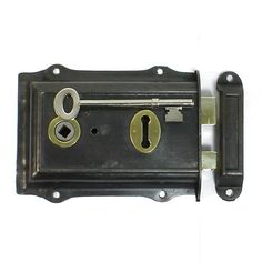 A Reclaimed, vintage, brass trimmed, steel cased rim lock. A heavy, good quality rim lock with it`s original cast iron keep and hand cut replacement key. Fully restored and in full working order. Solid cast brass bolt and latch. Either handed, suitable for left or right hung doors. Supplied complete with care instructions.