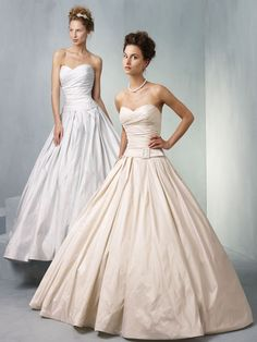 Ian Stuart Bride  - Blueberry Hill stunning timeless gown in plain taffeta or chic bow jacquard w sweetheart neckline with a draped bodice, buckled belt, -line skirt pleated at the waist with deep side pockets.