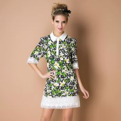 Summer fashion print white lace patchwork half sleeve shirt silk dress Free shipping high quality US $59.00