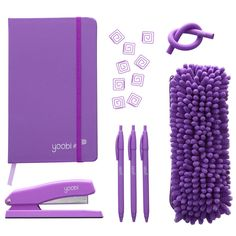 Purple desk accessories + stationary - so fun! And, each one you buy helps a classroom in need - I love design for a good cause!