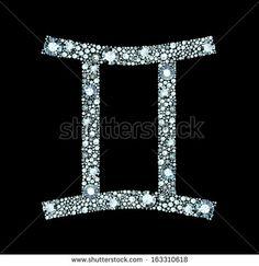 Gemini symbol made of gems