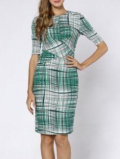 Shop Midi Dresses - Green Geometric 3/4 Sleeve Midi Dress online. Discover unique designers fashion at StyleWe.com.