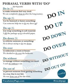 English phrasal verbs with Do English Time, English Verbs, English Fun, English Phrases, English Writing, English Study, English Lessons, English Grammar, Learn English