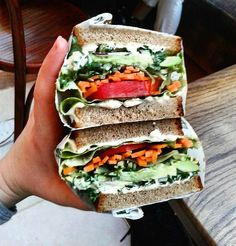 How amazing day with this sandwich look?  @Regrann from @thecapetownveggies -  This Salad Sandwhich from @tashascafe with extra hummus instead of cheese or mayonnaise was the perfect start to my transition into veganismwith a few clever swaps their  began friendly options are endless! #Regrann