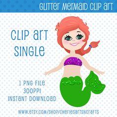 Clip Art Singles Glitter Mermaid Green by CheriesArtsnCrafts, $1.00 #mermaids #mermaidclipart