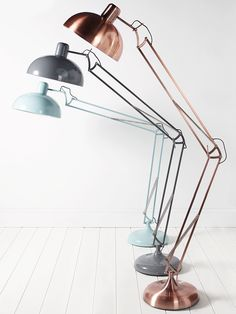 Inspired by our bestselling Copper Tore Floor Lamp¸ we've introduced two striking new colours into the collection. Made from steel with a powder coated finish in a soft grey shade, our Tore Floor Lamp has a large sturdy base and oversized angled arm that makes a statement in any living or sleeping space. Also available in eau de nil here. Click here to view our useful lighting buying guide, and take a look at our blog for ideas on how incorporate lighting into your home.