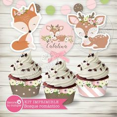 Kit imprimible personalizado animales del bosque romántico vintage Forest Party, Woodland Party, Girl First Birthday, Baby Birthday, Animal Themed Birthday Party, Baby Deco, Decoration Table, Baby Shower Themes, Fantasy Forest