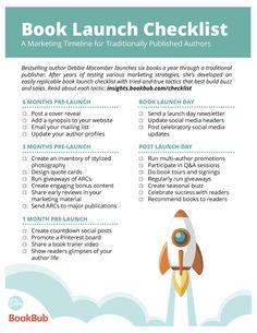 Book Launch Checklist: A Marketing Timeline for Authors – Pat Esden Book Launch Checklist: A Marketing Timeline for Authors Book Launch Checklist: A Marketing Timeline for Traditionally Published Authors Writing Images, Book Writing Tips, Writing Skills, Writing Quotes, Writing Resources, Writing Ideas, Content Marketing, Online Marketing, Marketing Plan
