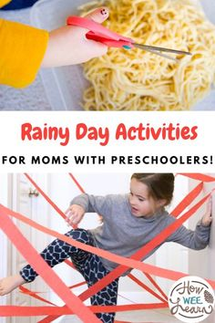 Looking for indoor rainy day activities? Or outdoor rainy day activities? We have both! These activities are so much fun and will give you some creative ideas to turn a boring day into a fun and exciting memory maker for your kids. Motor Skills Activities, Kids Learning Activities, Infant Activities, Free Activities, Rainy Day Activities For Kids, Creative Activities For Kids, Creative Ideas, Toddler Preschool, Toddler Crafts
