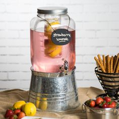 Core 2 Gallon Mason Jar Glass Beverage Dispenser with Infuser, Chalkboard Sign, and Galvanized Metal Stand