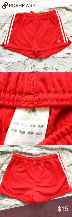 Adidas red three stripe track athletic shorts Make an offer! No trades. Bundle and save - I'm a fast shipper! adidas Shorts