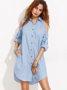 Robe chemise épaules nues manche ajustable - bleu