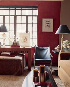 Red walls aren't easy to master, but they are certainly worth it. See some of the most stunning red rooms from our archives and get inspired to take the design leap. Red Walls, Red Decor, Decor, Red Interiors, Red Rooms, Living Room Grey, Red Interior Design, Red Living Room Walls, Living Room Red