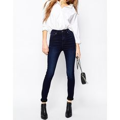 Dr Denim Zoe Sky High Waist Skinny Jean ($90) ❤ liked on Polyvore featuring jeans, midnight, super skinny jeans, stretch jeans, skinny leg jeans, high-waisted skinny jeans and white high waisted jeans