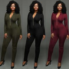 Women Trendy Long Sleeve Zipper Plunge Slinky Jumpsuit