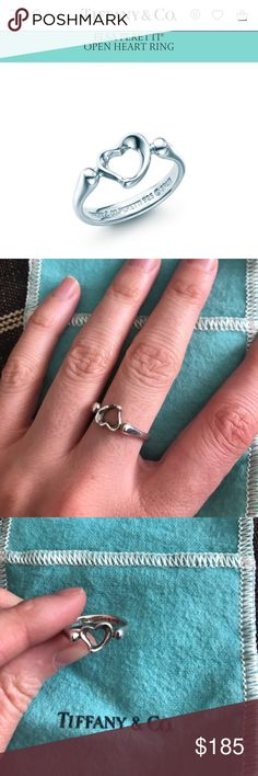 Tiffany & Co. ring Elsa Peretti open heart sing - size 7 - sterling silver - comes with Tiffany & Co. blue jewelry bag Tiffany & Co. Jewelry Rings