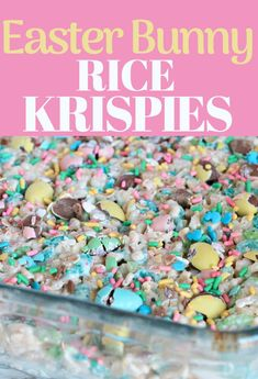Easter Rice Krispy Squares An easy and fun Rice Krispie Treat to make for Easter - loaded with mini eggs and bright sprinkles, these marshmallow treats are one the kids will love! Desserts Ostern, No Egg Desserts, Dessert Recipes, Yummy Recipes, Fudge Recipes, Candy Recipes, Cookie Recipes, Chocolate Covered Marshmallows, Recipes With Marshmallows
