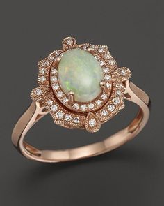 Bloomingdale's Opal and Diamond Antique Inspired Ring in 14K Rose Gold