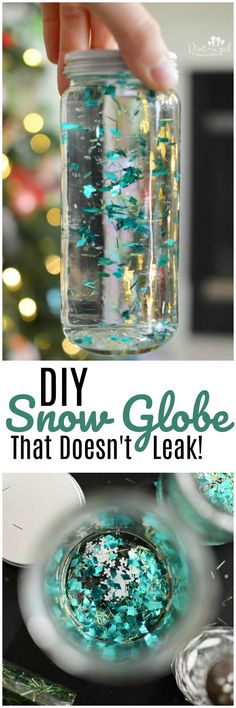 So simple! This gorgeous DIY Snow Globe is perfect for a classy and fun holiday season because it doesn't leak! Adults and kids will love this classy snow globe!