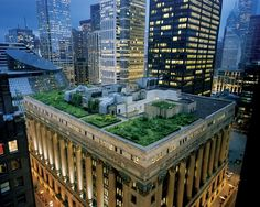 Perhaps the most impressive green roof in the city, City Hall's 23,000 square foot green roof serves as a testbed for researching and measuring the impact of green roofs. It saves the city about 3600 dollars a year in heating and cooling for the building.