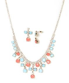 Turquoise & Coral Sparkle Bib Necklace & Earrings #zulily #zulilyfinds