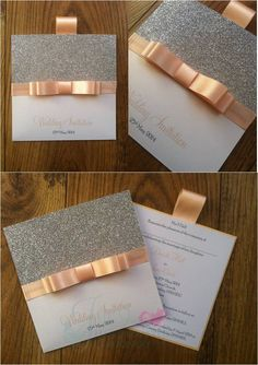 Peach Wallet Wedding Invitation with Silver glitter card www.jenshandcraftedstationery.co.uk www.facebook.com/jenshandcraftedstationery