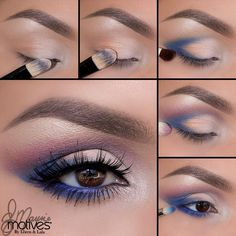 "Ely Marino using Motives Muse Palette! 1. Begin by applying ""Crème Fresh"" onto the brow bone and to the first half of the eyes. 2. Apply the ""Orange"" toned shadow to the outer part of the lid! Staying underneath the crease. 3. Using the ""Blue"" apply it in the outer ""V"" sweeping it into the lash line and in the crease! 4. Taking the ""Purple"" toned shadow blend above the blue 5. Using the same Blue shade apply underneath the lower lash line taking it about three quarters of the way in."