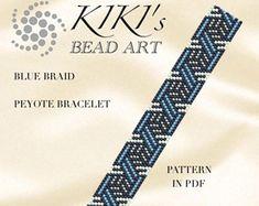 Peyote pattern for bracelet - Blue braid - Geometric peyote bracelet pattern in PDF - instant download