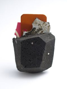 VANESSA ARTHUR-NZ Brooch - Citydust mix, plastic, brass, paint, 925 silver, black cz.