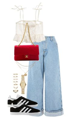 """""""Untitled #4328"""" by theeuropeancloset on Polyvore featuring Topshop, Madewell, Chanel, adidas, Forever 21 and Burberry"""