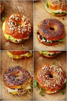Get DeepFried Bagel Sandwich Recipe from Food Network - pizza Bagel Sandwich, Sandwich Recipes, Sandwich Ideas, Breakfast Desayunos, Food Porn, Cooking Recipes, Healthy Recipes, Food Inspiration, Love Food