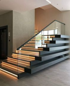 Any thoughts on this modern staircase? Design by Home Stairs Design, Home Room Design, Dream Home Design, Modern House Design, Home Interior Design, Modern Stairs Design, Luxury Interior, Stair Design, Design Design