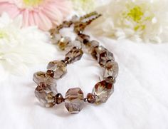 Chunky Faceted Smoky Quartz Statement Necklace by OphieEmporium, £50.00