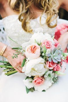 Floral and Succulent Bouquet - Fresh Bridal Bouquets - Southernliving. White peonies, peach garden roses, succulents, white lisianthus and seeded eucalyptus combined for a bright floral bouquet fit for an elegant backyard wedding. Love It? Get It!Hedge Fine Blooms