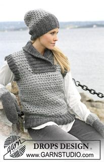 """DROPS 104-30 - Crochet DROPS waist coat, hat and mittens with rib in """"Eskimo - Free pattern by DROPS Design"""