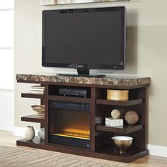 Kraleen | LG TV Stand with Fireplace
