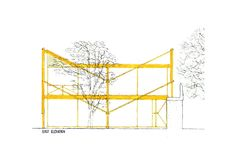 Yellow House Alison and Peter Smithson Alison And Peter Smithson, Mood Colors, Yellow Houses, Atrium, Floor Plans, Concept, Architects, Sketch, Furniture