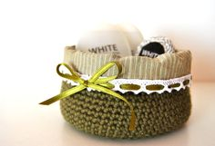 Crochet basket, Wool Basket, Fabric Organizer storage basket, Small basket, olive green basket, last one this combo!