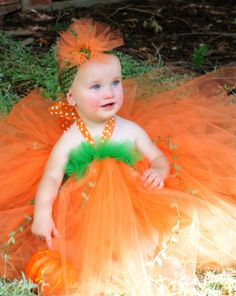 Lil' Pumpkin Halloween Costume Tutu Dress $85 #pumpkin #halloween #tutu