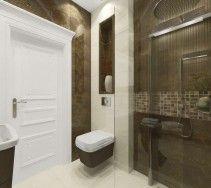 Elegancka aranżacja wnętrza łazienki - połączenie bieli, kremu i ciemno-brązowej zieleni.