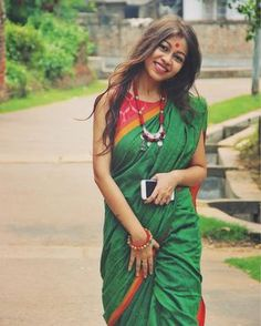"""1,338 Likes, 27 Comments - Shreya Podder (@shreyapodder) on Instagram: """"When the other side is draped in green. Saree Courtesy: @Amrapaliboutique #goinggreen #sixyards…"""""""