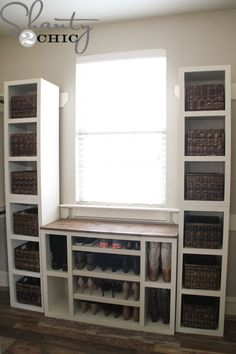 I'm back with an addition to my Modular Closet Storage System! If you missed my Shoe Storage Cabinet you can see it HERE! This week I got busy with these storage towers! There are four in this picture and they are about x x Thes Closet Storage Systems, Shoe Storage Cabinet, Laundry Room Storage, Closet System, Storage Shelves, Storage Solutions, Attic Storage, Diy Storage Closet, Storage For Shoes