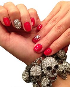 Used My Rhinestone Skull Bracelet As Inspiration For Red Gel Nails Accented With Rhinestones