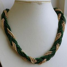 Vintage French Gold & Green Plaited Chain Necklace (signed GM)