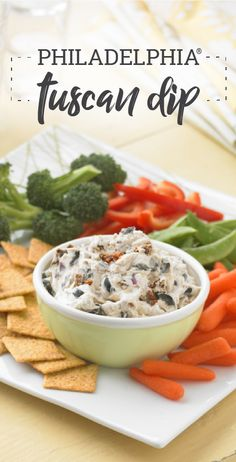 PHILADELPHIA Tuscan Dip – Ahh, Tuscany: the summer sun on the hills, the sun-dried tomatoes, and flavorful olives. We've captured it all for you in this appetizer recipe. It'll take you there during every bite.