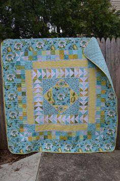 Handmade Modern Quilt Medallion Spring Flowers Teal Aqua and