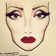 Facecharts for MAC makeup-kinda looks cruella de ville tho