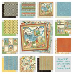 GRAPHIC45 MOTHER GOOSE 12 x12  PAPER PACK X11 SHEETS SCRAPBOOKING CARDMAKING